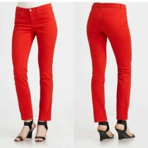 Eileen Fisher Jeans Mid Rise Slim Fit Skinny Red